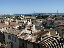Vue sur les toits depuis les remparts du château de l'Hauture